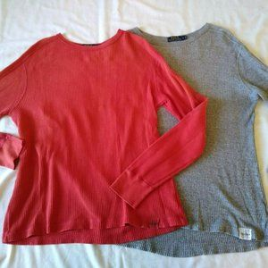 Lot of 2 Polo Ralph Lauren Waffle Knit Thermal L